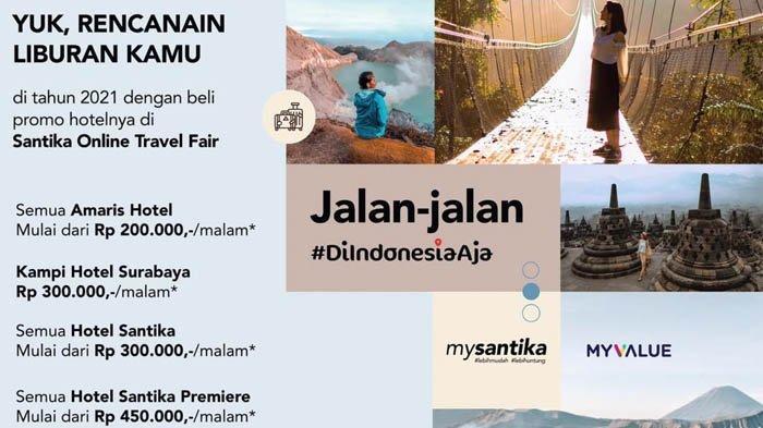 Dalam online travel fair ini, Santika Indonesia menawarkan voucer menginap untuk 116 hotelnya di seluruh Indonesia.