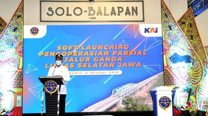 Seremoni Soft Launching Pengoperasian Parsial Jalur Ganda Lintas Selatan Jawa, Kamis (8/10/2020).