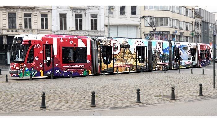 Pesona Wisata Indonesia di Tram Brusel, Promosi Indonesia oleh KBRI Brussel