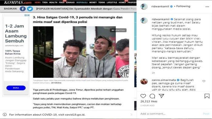 Gubernur Jawa Barat Ridwan Kamil mengomentari soal pemuda nangis seusai terciduk menghina Satgas Covid-19.
