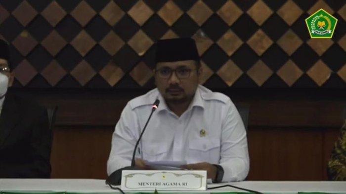 Menteri Agama RI Yaqut Cholil Qoumas dalam Konferensi Pers Penjelasan Kebijakan Penyelenggaraan Ibadah Haji 1442 H/2021 M, Kamis (3/6/2021).