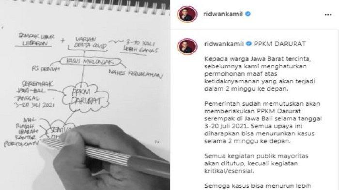 Gubernur Jawa Barat Ridwan Kamil menuliskan sebuah permohonan maaf kepada warga Jawa Barat lewat akun Instagram miliknya @ridwankamil, Jumat (2/7/2021).