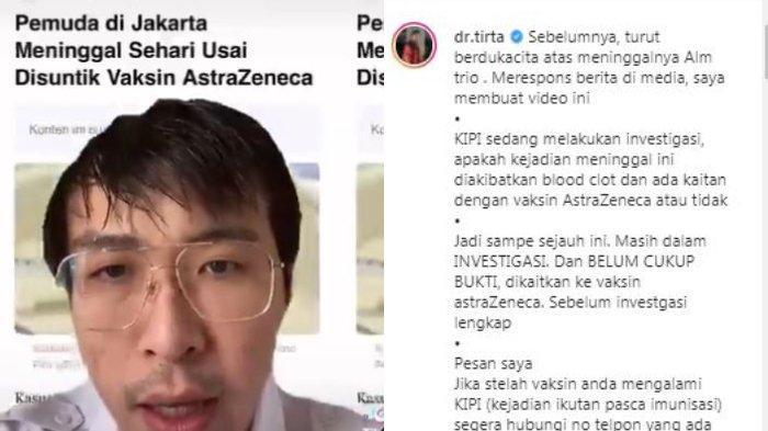 Influencer sekaligus tenaga kesehatan dr. Tirta Mandira Hudhi buka suara soal pemberitaan seorang pria meninggal dunia seusai menerima suntikan vaksin Astra Zeneca, Senin (10/5/2021).