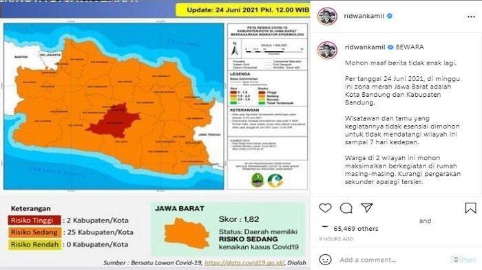 Gubernur Jawa Barat Ridwan Kamil mengumumkan bahwa Kota dan Kabupaten Bandung, Jawa Barat kini tengah berstatus zona merah Covid-19 per Kamis (24/6/2021).