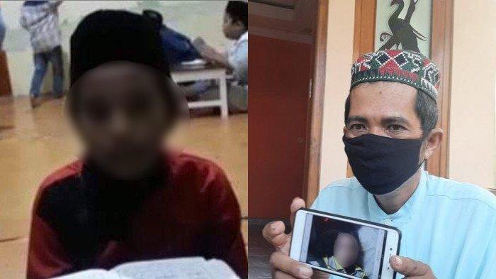 Bandiman memperlihatkan foto anaknya (kiri) yang meninggal usai menyantap paket sate misterius, Senin (26/4/2021).