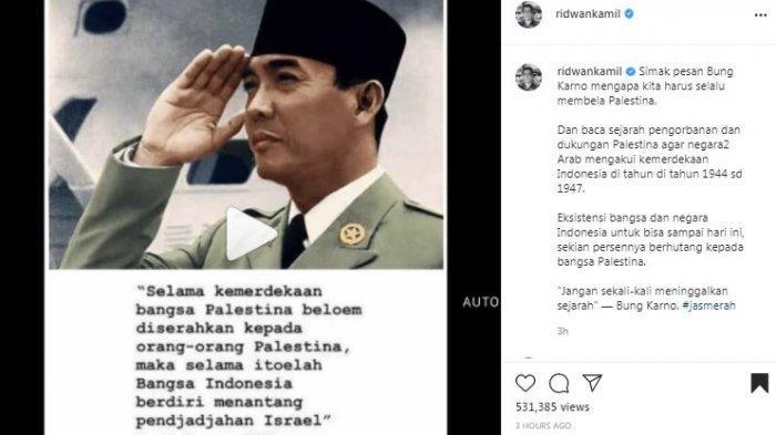 Gubernur Jawa Barat Ridwan Kamil membagikan informasi soal andil bangsa Palestina dalam kemerdekaan negara Indonesia, Sabtu (22/5/2021).