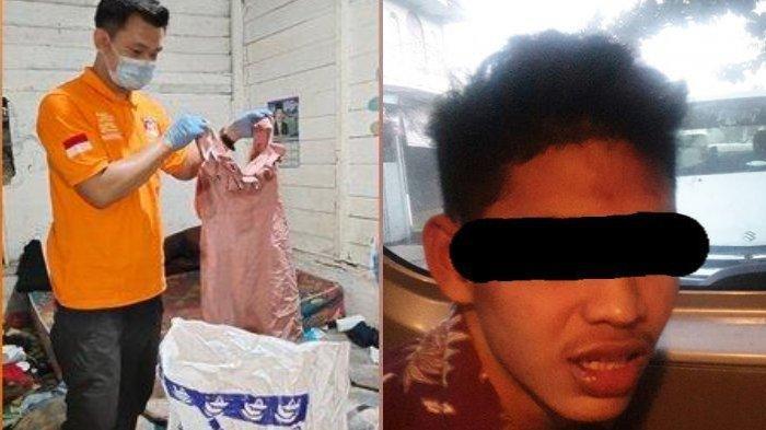Penemuan Mayat di Kalsel, Tersangka Pelaku (kanan) Tindak Pidana Pembunuhan dibekuk petugas gabungan di lokasi persembunyiannya di Kabupaten HSS. Foto TKP tersangka membunuh kekasihnya yang sejenis (kiri).