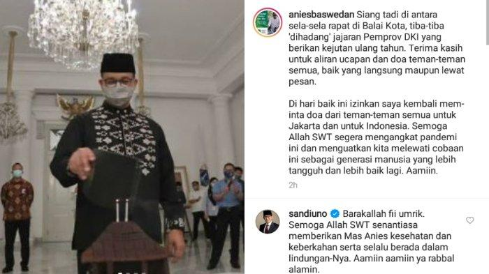 Menteri Pariwisata dan Ekonomi Kreatif (Menparekraf) Sandiaga Uno memberikan ucapan selamat ulang tahun dan doa kepada Gubernur DKI Jakarta Anies Baswedan  yang diketahui baru saja menginjak usia 52 tahun pada saat berulang tahun pada Jumat (7/5/2021).