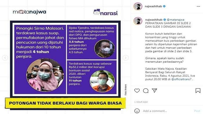 Presenter kondang Najwa Shihab memberikan sindiran pedas terhadap sistem hukum di Indonesia lewat media sosial (medsos), Selasa (3/8/2021).