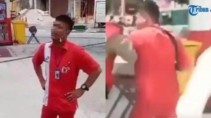 Foto kiri: Beredar video pegawai SPBU di Bandung ribut dengan warga yang berjualan viral di media sosial. Foto kanan: KSD, pegawai SPBU di Cipadung yang sempat dikeroyok oleh warga namun diselamatkan polisi, Selasa (31/8/2021) siang.