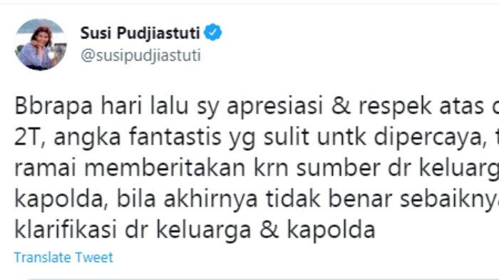 Eks menteri Perikanan Susi Pudjiastuti menantikan kelanjutan kabar sumbangan senilai Rp 2 triliun dari almarhum Akidi Tio, Senin (2/8/2021).