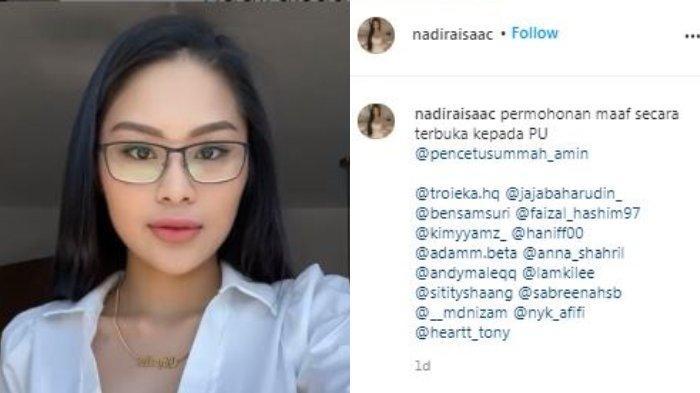Permohonan maaf selebgram di Malaysia, Nadira Isaac terkait viral dirinya yang memakai pakaian seksi berfoto dengan seorang ustaz. Diunggah di Instagram/@nadiraisaac, Selasa (20/4/2021).