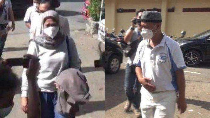 Yosef (55) bersama istri mudanya, Mimin didampingi tim kuasa hukum saat akan memasuki ruangan Satreskrim Polres Subang, Kamis (23/9/2021).