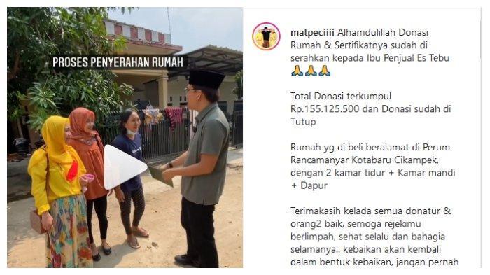 Unggahan akun Instagram @matpecii, Minggu (1/8/2021). Ibu penjual es tebu yang sempat viral sampai sujud syukur saat diberi hadiah rumah baru.