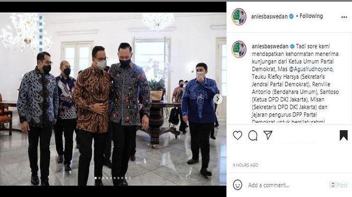 Gubernur DKI Jakarta Anies Baswedan menceritakan momen dirinya dikunjungi oleh Ketua Umum Partai Demokrat, Agus Harimurti Yudhoyono (AHY) pada Kamis (6/5/2021) sore.