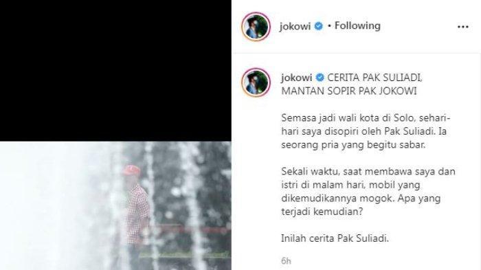 Sopir Jokowi semasa menjabat sebagai Wali Kota Solo, Suliadi alias Suli bercerita tentang kebiasaan sang presiden saat di dalam mobil. Diunggah di Instagram/@jokowi, Sabtu (25/9/2021).