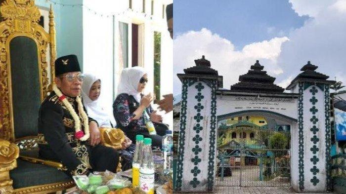 Foto kiri: Baginda Sultan Iskandar Jamaluddin Firdaus, pemimpin Kerajaan Angling Dharma Pandeglang. Foto kanan: Suasana istana Kerajaan Angling Dharma di Pandeglang.