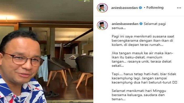 Gubernur DKI Jakarta Anies Baswedan teringat momen kecebur got saat menceritakan hobinya main ikan, Minggu (12/9/2021).