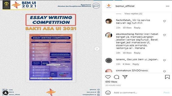 Di tengah ramai kritikan warganet terhadap Rektor Universitas Indonesia (UI), Ari Kuncoro, kini akun medsos Instagram/@bemui_official turut dibanjiri komentar oleh netizen, Rabu (21/7/2021).