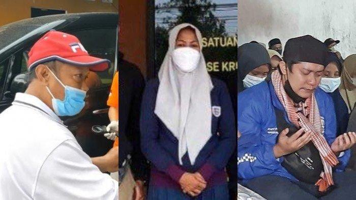 Saksi-saksi pada kasus pembunuhan ibu-anak di Subang, Yosef selaku suami korban Tuti (kiri), M selaku istri muda Yosef (tengah), dan Yoris (kanan) selaku anak dari Tuti.
