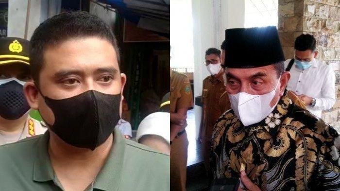Wali Kota Medan Bobby Nasution (kiri) menanggapi pernyataan Gubernur Sumatera Utara Edy Rahmayadi (kanan) tentang lokasi karantina, Kamis (6/5/2021).