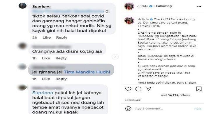 Influencer sekaligus tenaga kesehatan dr. Tirta Mandira Hudhi menggelar sayembara berhadiah total Rp 40 juta untuk mencari seorang warganet. Diunggah di akun Instagram/@dr.tirta, Jumat (30/4/2021).