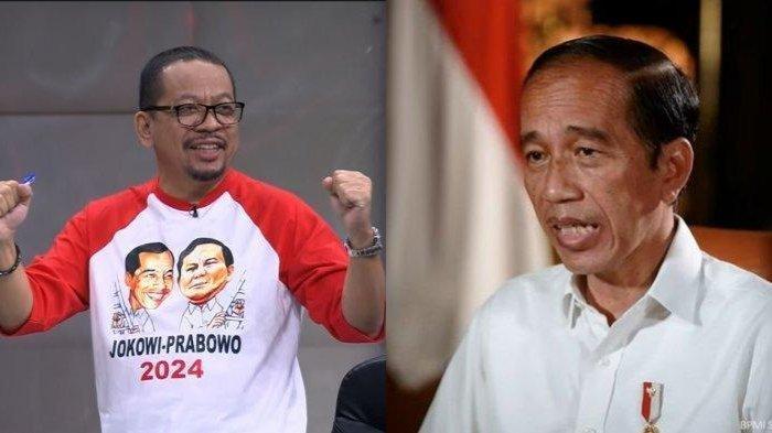 M Qodari selaku Direktur Eksekutif Indo Barometer mengenakan kaus bergambar Joko Widodo (Jokowi) dan Prabowo Subianto saat hadir dalam program Mata Najwa, Kamis (18/3/2021). Foto kanan: Presiden RI Joko Widodo (Jokowi).