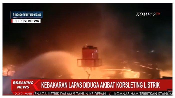 Tangkapan layar siaran langsung Kompas TV terkait kebakaran di Lapas Kelas 1 Tangerang, Rabu (8/9/2021) dini hari. Kebakaran ini menyebabkan 41 napi tewas.