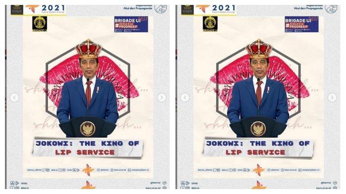 Unggahan akun Instagram BEM UI, Sabtu (26/6/2021). BEM UI menjadi trending topic di Twitter setelah menyebut Jokowi 'King of Lip Service'.