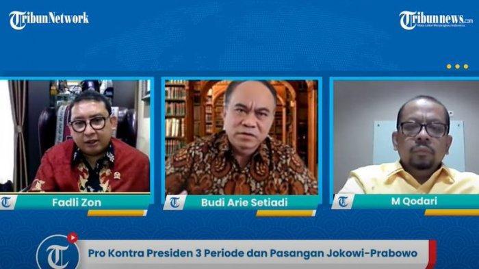 Tangkapan Layar narasumber yang hadir dalam acara Pro Kontra Presiden 3 Periode dan Pasangan Jokowi dan Prabowo dalam Kanal YouTube Tribunews.com pada Kamis (24/6/2021).