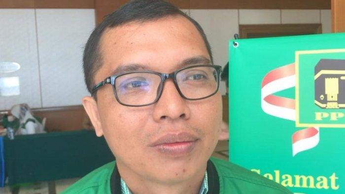 Achmad Baidowi di lokasi Mukernas V PPP, Hotel Grand Sahid Jaya, Jakarta, Sabtu (14/12/2019).