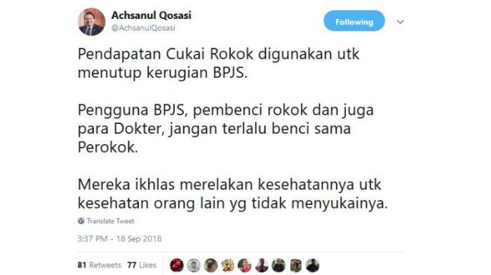 Unggahan Achsanul Qosasi pada Twitter, Selasa (18/9/2018).