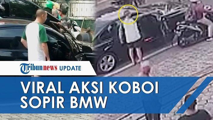 Pengemudi BMW acungkan pistol di tengah kemacetan arus lalulintas di Jakarta Pusat, viral di media sosial, Jumat (14/6/2019).