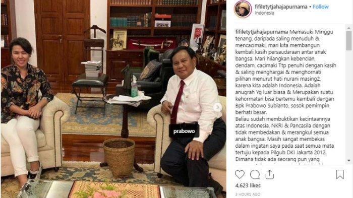 Adik Ahok, Fifi Lety, bertemu dengan Prabowo Subianto, pada Senin (15/4/2019). (Instagram @fifiletytjahajapurnama)