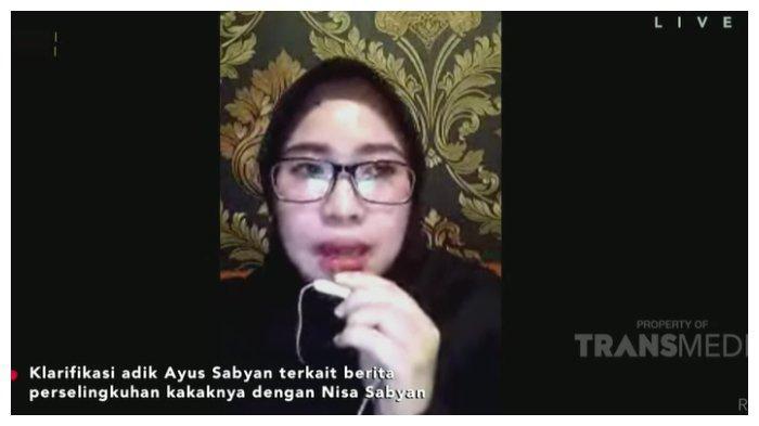 Adik Ayus Sabyan, Fadhila Nova memberikan konfirmasih perselingkuhan kakaknya dengan Nissa Sabyan di acara Rumpi, Jumat (19/2/2021).
