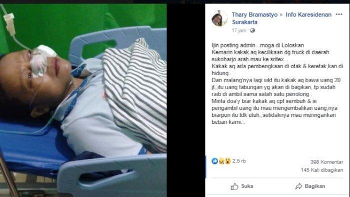 Adik korban mengunggah postingan di sebuah grup wilayah Kabupaten Sukoharjo.