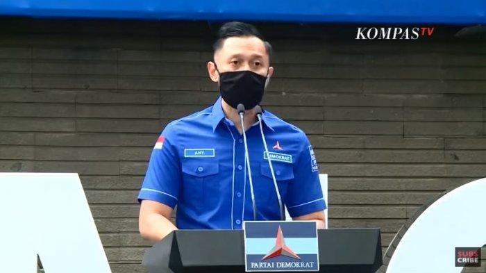 Ketua Umum Partai Demokrat Agus Harimurti Yudhoyono (AHY) dalam konferensi pers, Senin (1/2/2021).
