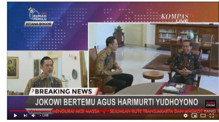 Komandan Kogasma Partai Demokrat Agus Harimurti Yudhoyono kembali melakukan pertemuan dengan Presiden  Joko Widodo, di Istana Merdeka Bogor, Rabu (22/5/2019).