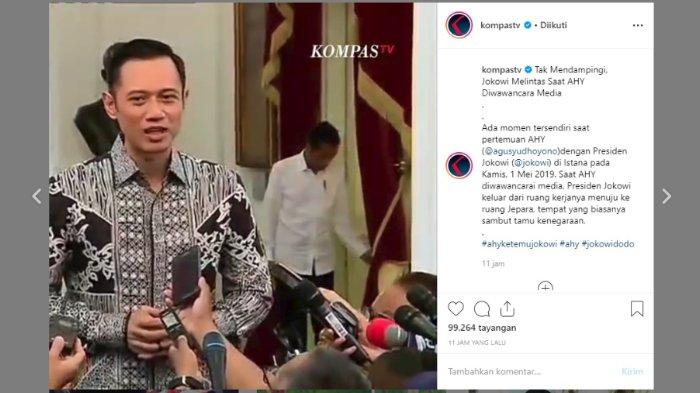 Momen Jokowi saat tertangkap kamera melintas di belakang AHY, Kamis (2/5/2019).