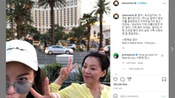 Ailee mengabarkan bahwa ibundanya meninggal dunia, pada Sabtu (13/2/2020).