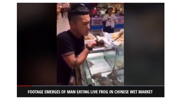 Virus Corona Merebak, Video Seorang Pria di China Memakan Katak Hidup-hidup Viral di Medsos