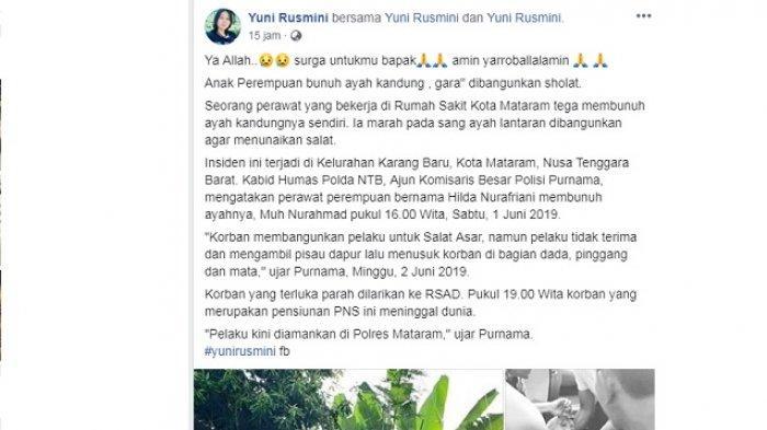 Anak bunuh ayah di Kota Mataram, NTB hanya karena tidak terima dibangunkan salat, Sabtu (1/6/2019)