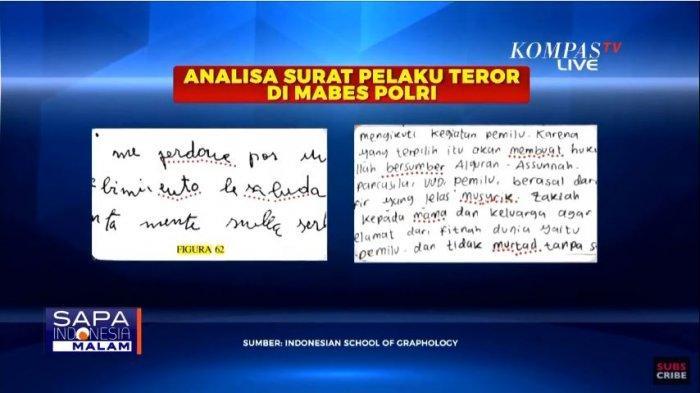 Analisa tulisan tangan dalam surat wasiat pelaku teror di Mabes Polri dan Gereja Katedral Makassar, Kamis (1/4/2021).