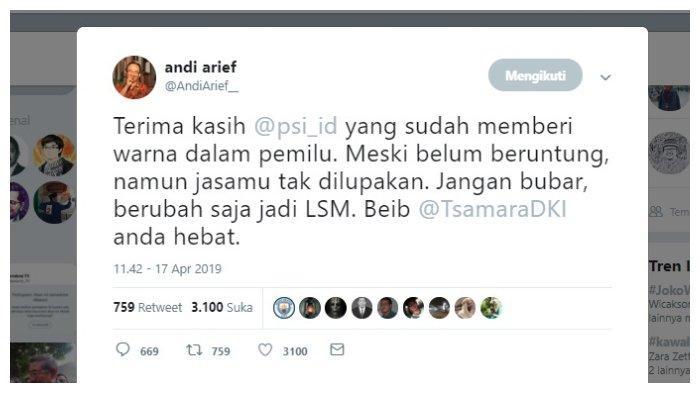 Kicauan Andi Arief singgung PSI dan TSamara Amany dalam Pemilu 2019, Rabu (17/4/2019).
