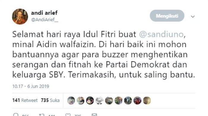 Kicauan Andi Arief melalui akun Twitter @AndiArief__, Kamis (6/6/2019).