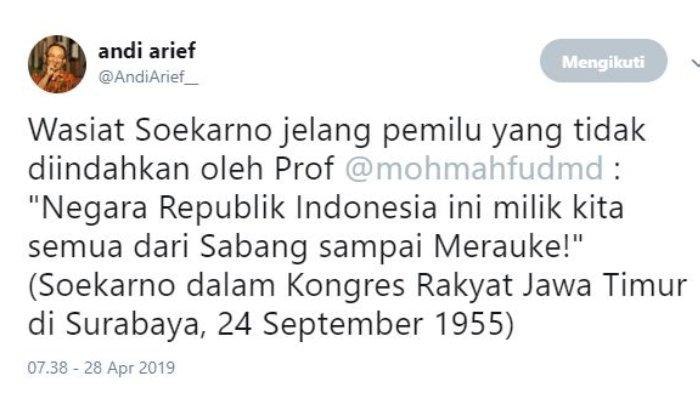 Mantan Politikus Partai Demokrat Andi Arief memberikan tanggapan atas pernyataan Mantan Ketua Mahkamah Konstitusi (MK) Mahfud MD soal provinsi garis keras.