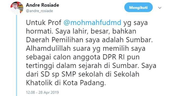Juru Bicara Badan Pemenangan Nasional (BPN) Prabowo Subianto-Sandiaga Uno, Andre Rosiade turut menanggapi pernyataan Mantan Ketua Mahkamah Konstitusi Mahfud MD soal provinsi garis keras.