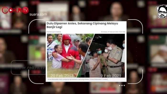 Gubernur DKI Jakarta Anies Baswedan mengklaim Kelurahan Cipinang Melayu, Jakarta Timur bebas banjir, Selasa (9/2/2021). Dua pekan kemudian kawasan tersebut terendam banjir 1,5 meter.