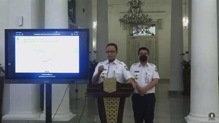 Gubernur DKI Jakarta Anies Baswedan dalam konferensi pers Kebijakan Pemprov DKI Jakarta Terkait Penanganan Covid-19, Rabu (9/9/2020).
