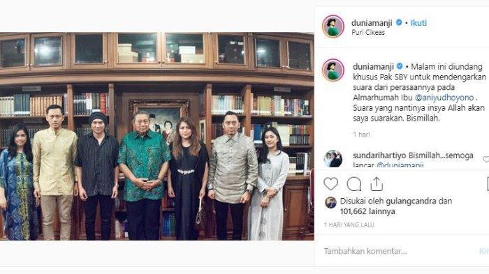 Anji mengunggah foto dan istri bersama SBY dan keluarga melalui akun Instagram.